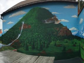 Muurschildering resto buiten terras landschap water