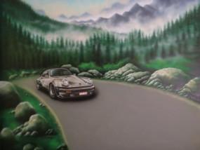 Muurschildering binnen car Porche