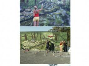 Streetart graffiti muurschildering trompet l'oeil muurschildering buiten landschap bos