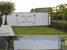 Muurschildering tuin Detail traiteur