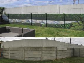Muurschildering buiten landschap waterval verruim je tuin