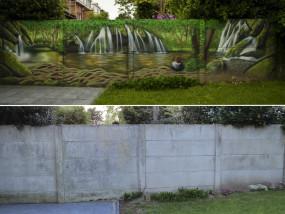 Muurschildering tuin waterval