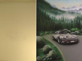 Muurschildering binnen toonzaal Porsche