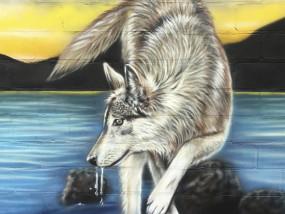 Muurschildering wolf buiten terras landschap