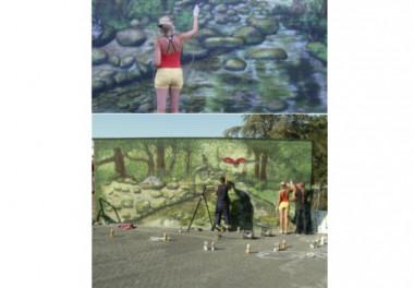 Muurschildering voor en na