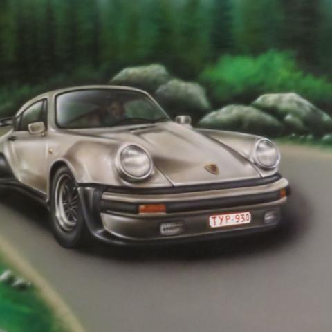 Muurschildering binnen cars Porche